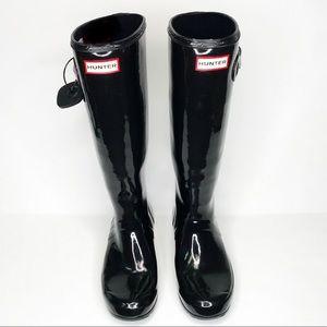 Hunter boots original tall black gloss size 8